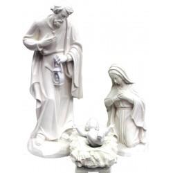 Heilige Familie in Fiberglas - Maria, Jesuskind und Heiliger Joseph, Original Grödner Schnitzereien - Naturbelassen