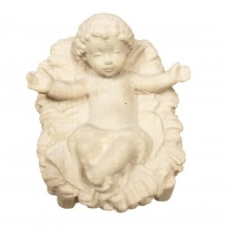 Jesu Kind mit Wiege aus Ahornholz geschnitzt, diese Holzskulptur ist eine edle Grödner Schnitzerei - Naturbelassen