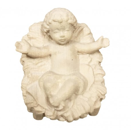 the infant Jesus with Cradle carved in maple wood  - Dolfi Hand carved Nativity Set - Made in Italy - natural