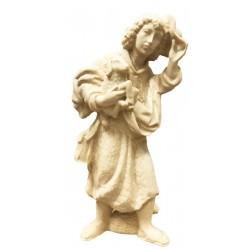 Hirte mit Schaf und Hut aus Ahornholz geschnitzt, diese Skulptur ist eine edle Grödner Schnitzerei - Naturbelassen