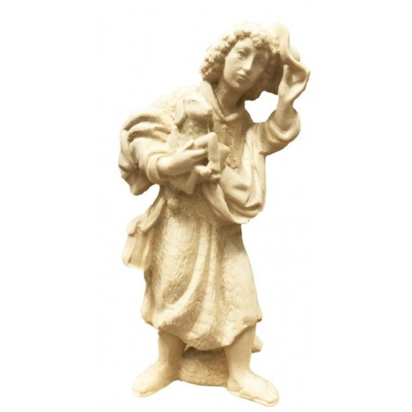 Shepherd with Sheep and Hut carved in maple wood  German Hand carved Nativity - Made in Italy - natural