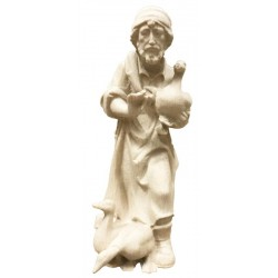 Shepherd with ducks carved in maple wood  - natural