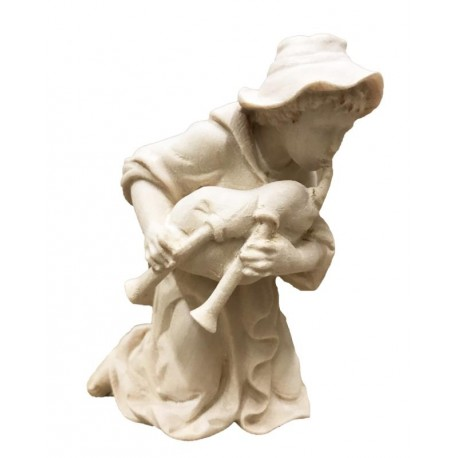 Kneeling Shepherd with Bagpipe carved in maple wood   carved Nativity Scene - Made in Italy - natural