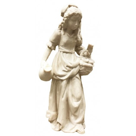 Shepherdess with Basket carved in maple wood  - Dolfi carved Nativity Sets - Made in Italy - natural