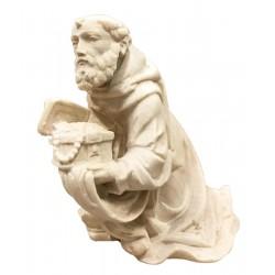 Kneeling Wise Man Balthasar in wood - natural