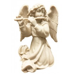 Angel with cross flute carved in maple wood  - natural