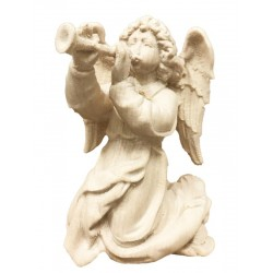 Angel with trumpet carved in maple wood  - natural