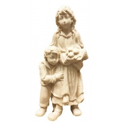 Young Shepherdess with Boy carved in maple wood  old Nativity Set Made in Italy - Made in Italy - natural