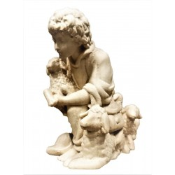 Kneeling Young Shepherd with Sheep carved in maple wood  Nativity Scene Made in Italy - natural