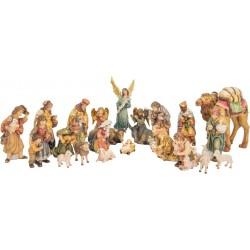 Presepe da 24 figurine di legno - colorato a olio