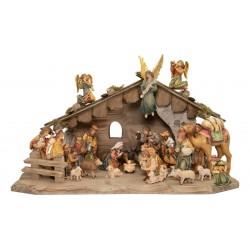 Presepe Matteo da 24 pezzi con capanna - Dolfi, Val Gardena - colori ad olio