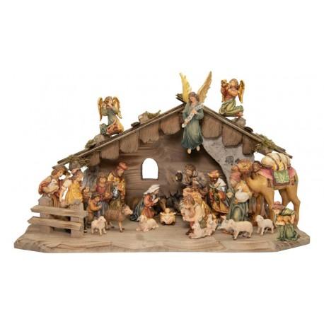 Presepe Matteo da 24 pezzi con capanna - Dolfi - colorato a olio