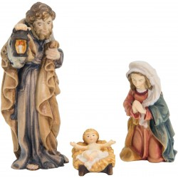 Sacra Famiglia 3 pezzi in legno - colorato a olio