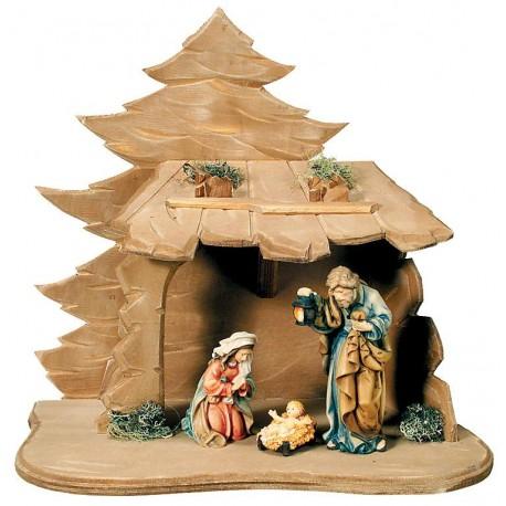 Sacra Famiglia con capanna in legno - colorato a olio