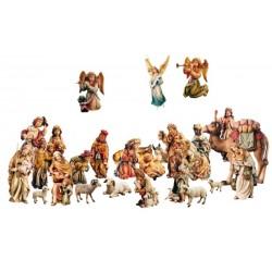 Presepe da 27 statue in legno - colorato a olio