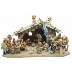 Matteo Nativity 27 Pcs with Stable wood carved Nativity Scene animals - color