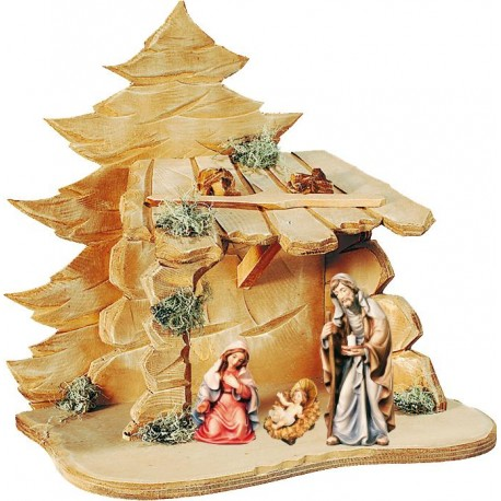 Holy Family with Stable in wood carved - color