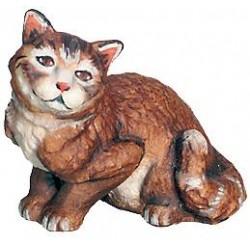 Gattino seduto in legno per presepe - colorato a olio