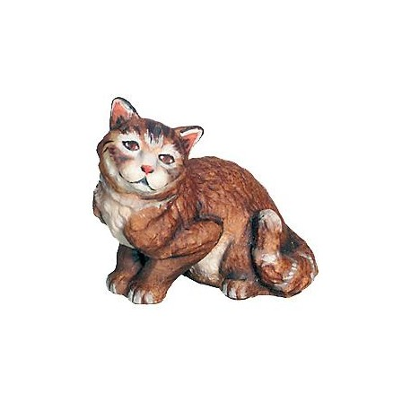 Sitting Cat carved in maple wood - color