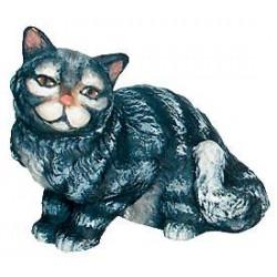 Sitzende Katze aus Holz Krippenfigur - Bemalt