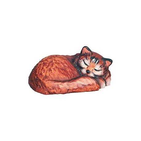 Sleeping Cat carved wood - color