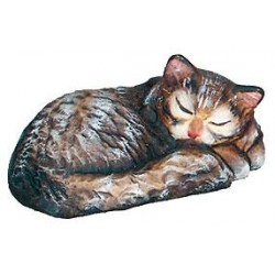 Sleeping Cat carved in maple wood  - painted