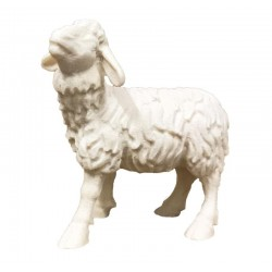 Standing Sheep carved in wood - natural