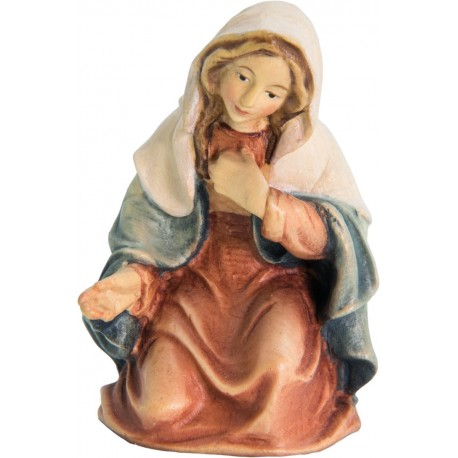 Mary wood carved nativity scene - color