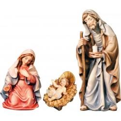 Natività gruppo Sacra Famiglia in legno - colorato a olio