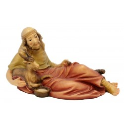 Lying Shepherd with Goat in wood - color