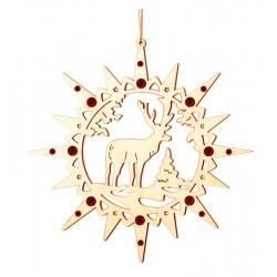 Stern mit Elch mit Kristallen - Christbaumschmuck