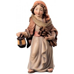 Jung Shepherd with Corn and Lantern - Dolfi Holy Family Nativity Figurines - Made in Italy - oil colors