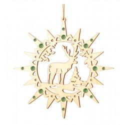 Stern mit Elch mit Swarovski Kristallen - Christbaumschmuck