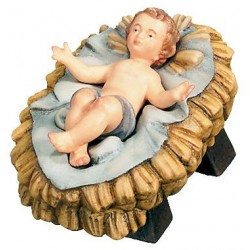 Infant with Cradle carved in maple wood  - lightly colored with oil paint