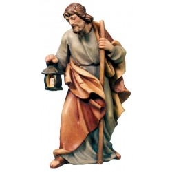 St Joseph wood nativity statue - color