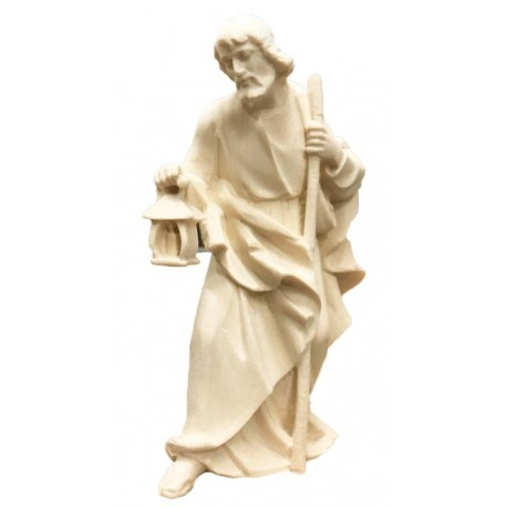 Saint Joseph carved in maple wood - Dolfi Mary Joseph and Baby Jesus Figurines - Made in Italy - natural
