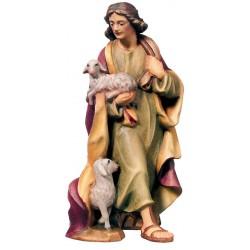 Pastore con pecora finemente scolpito in legno d'acero - Dolfi personaggi presepe intagliate a mano - colori ad olio