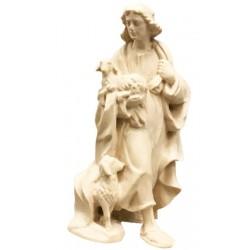 Pastore con pecora finemente scolpito in legno d'acero - Dolfi personaggi presepe intagliate a mano - naturale