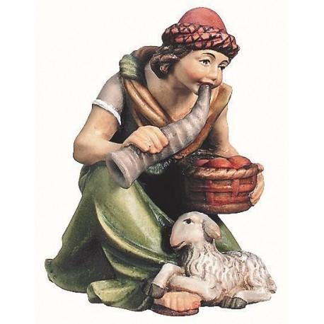 Pastore in ginocchio con cesto in legno - colorato a olio