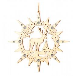 Stern mit Elch und Swarovski Kristallen