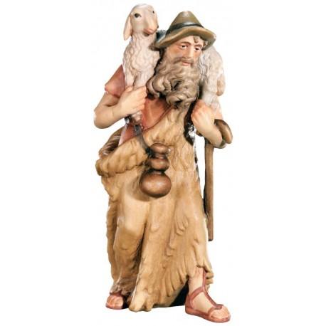 Figurina pastore con pecore in legno - colorato a olio