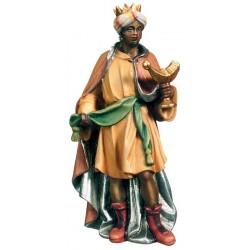 Re Magio Moro scolpito in legno nobile - colorato colori pastello