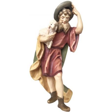 Statua pastore con pecore presepe in legno - colorato a olio