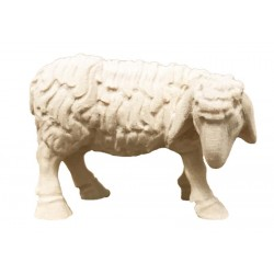 Eating Sheep carved in maple wood  - natural