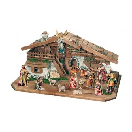 Presepe da 14 figurine con capanna in legno - colorato a olio