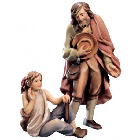 Pastore con ragazzo in legno - colorato a olio