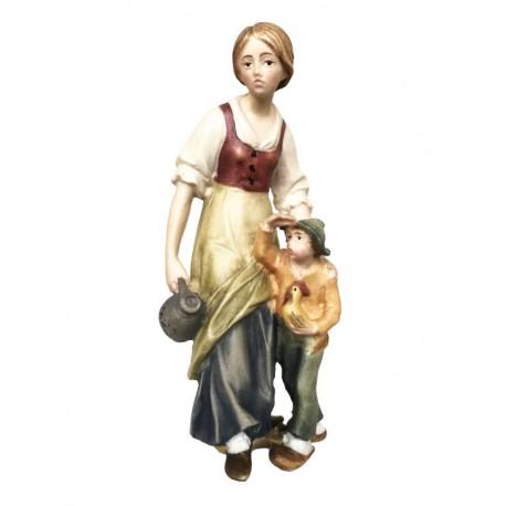 Pastorella con ragazzo in legno - colorato a olio