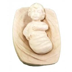 Bambino Gesù con culla scolpito raffinatamente in legno d'acero, statuine presepe scolpite in legno - naturale