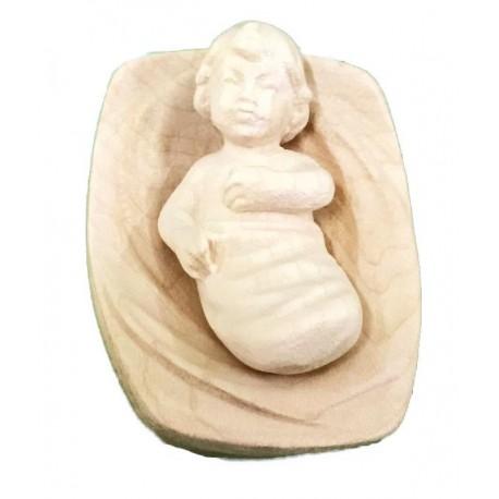 Bambino Gesù con culla in legno - naturale