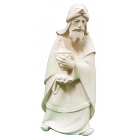 Re Magio Bianco elegantemente scolpito in legno - Dolfi statuine presepe scolpite in legno - naturale